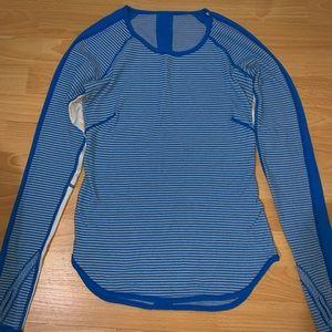 Lululemon women's blue striped crewneck sweater